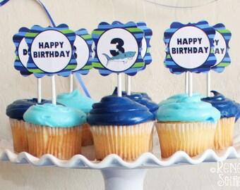 SHARK Collection - Birthday Party - Customized - DIY Printable Coordinating Design Accessories - Ocean - Sea