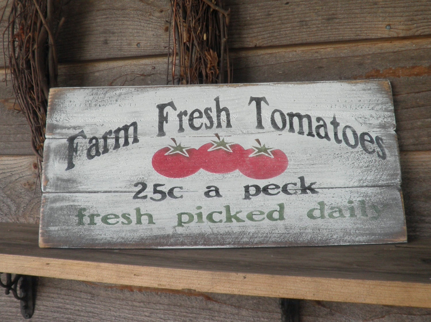 Primitive country decor kitchen sign farm fresh tomatoes