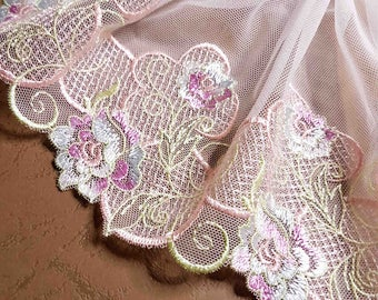 Super white embroidery tulle lace pink floral 19cm width