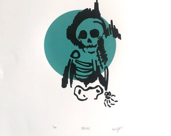 "Original Screen Print ""Skelly"" A3 Size"