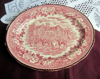 """Wood and Sons English Hunting Scene 12"""" Oval Ironstone Serving Platter - Made in England"""
