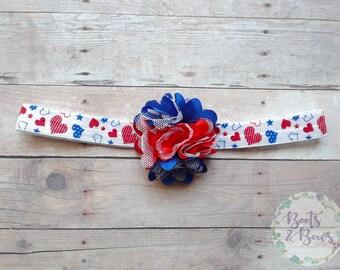"""Patriotic Headband - Red White and Blue Headband - Patriotic Hearts - American Headband - Newborn Headband - 4th Of July Headband - 14"""""""