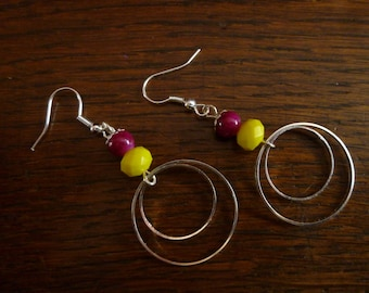 Earrings silver circles and beads purple and yellow