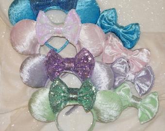 Velvet Minnie Ears | Pastel Minnie Ears | Crushed Velvet Ears | Millenial Pink Ears | Mint green Ears | Lavender Ears | Blue velvet Ears