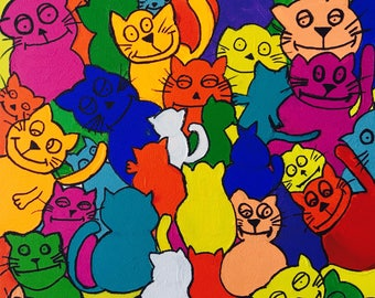 Happy Cats - Acrylic Painting Funky Cats Colourful Art Crazy Cat Lovers or Art for Kids