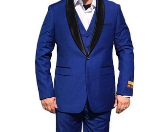 ALBERTO NARDONI Mens Formal Vested 1Button Shawl Suit Royal Blue Tuxedo Jacket Blazer