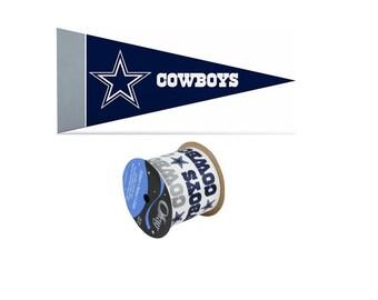 "2.5"" NFL Dallas Cowboys Ribbon, 9 feet & Mini Pennant, Licensed NFL Offray Ribbon"