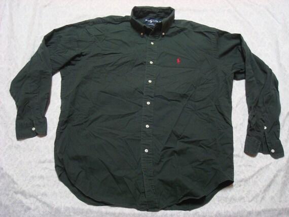 Vintage Retro Men's 90's Polo Ralph Lauren Blaire Shirt Green Red Horse Buttonup Long Sleeve Cotton Large XL 3xN8cv