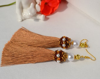 Long chocolate tassel earrings Royal earrings embroidered with crystals and seeds beads Coffee tassels Dangle earrings Trend jewelry African