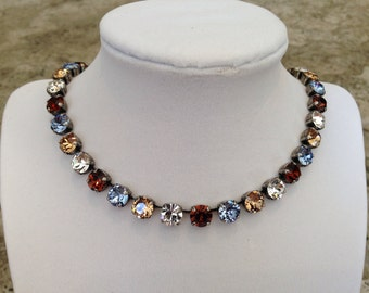 8mm swarovski crystal necklace - blues and browns - DESERT SKY