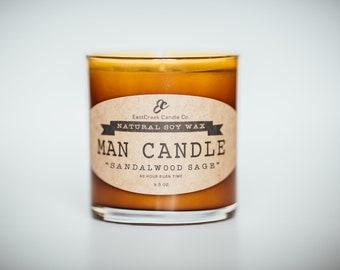 Sandalwood Sage Man Candle, Soy Candle for Men, Soy Wax Man Candle, Amber Jar Soy Candle, Manly Smelling Soy Candle, Atlanta, Ga