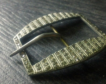 Art DECO Rhinestone Buckle, Sparkly vintage accessory, Vintage clothing Belt buckle, gift for her