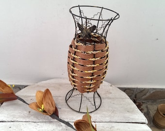 Vintage Metal Straw Vase, Shabby Chic Decor, Rustic Home Decor, Gift Idea