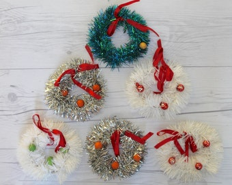 Vintage Lot of 6 Wire and Tinsel Wreaths, Vintage Holiday Decoration, Vintage Wreath Ornament, Vintage Small Wreath