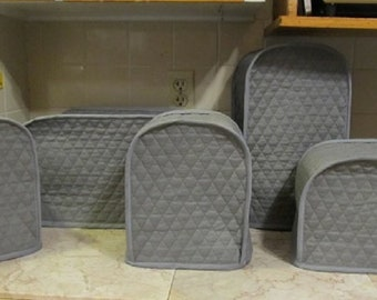 Steel Gray Fabric Small Appliance Covers Set Quilted Fabric Dust Cloth Covers for Kitchen Appliances Made to Order