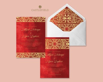 Castlefield Rich Red and Ornate Gold Indian Southeast Asian Wedding Event Invitations RSVP Stationery Customized Printable Luxury