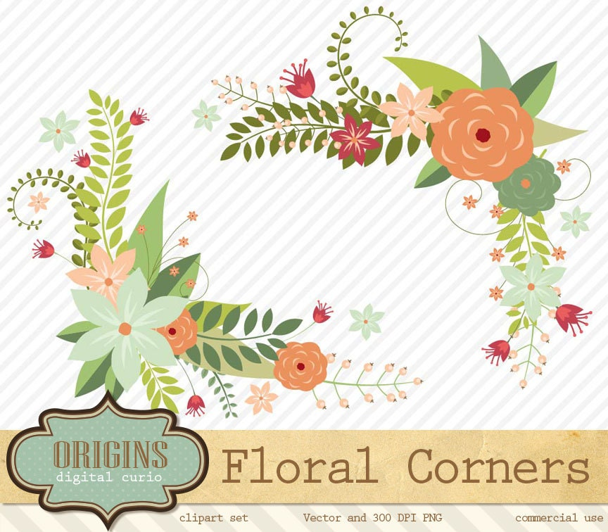 Floral Corners Clipart Flower Borders Valentines