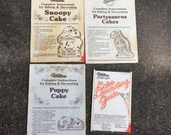 Vintage Wilton Baking Instructions - Snoopy, Partysaurus, Puppy, and Icing Guide