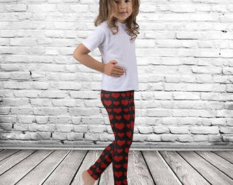 Red Hearts Valentine Leggings, girls leggings, red leggings, black leggings, girl valentine leggings, valentines clothing, valentine's day