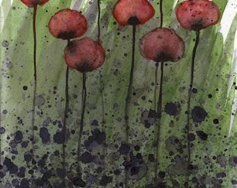 Watercolor Painting: Watercolor Flower Painting -- Art Print -- Overwhelmed -- Dark Red Flowers -- 14x18