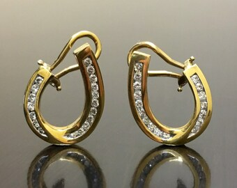 18K Yellow Gold Horseshoe Diamond Earrings - 18K Gold Diamond Horseshoe Earrings - Diamond 18K Gold Earrings - Horseshoe Gold Earrings