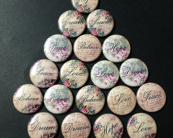 Vintage Words Themed Buttons  Set of 20