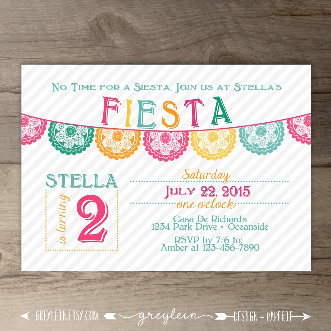 Fiesta Birthday Invitation / invites / Mexican Party Invite /