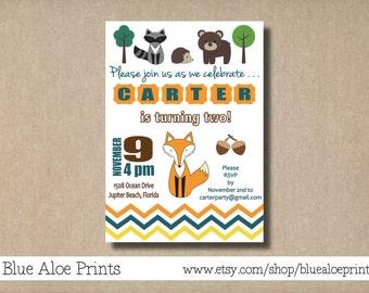Woodland Creatures Boy or Girl Fox Invitation   Printable Birthday Invite