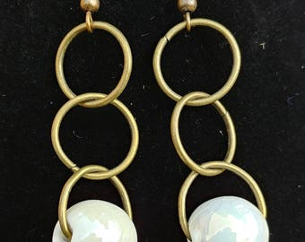 Brass Hoops with White Ceramic Bead