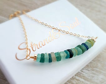 Ancient Roman Glass Gemstone Bar On Gold Filled Chain - Gift For Her - Gift For Mom