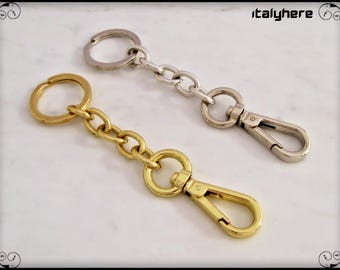 Keychain with chain and carabiner, cm.12,5 available gold or silver