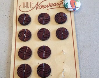Old plate of 10 Burgundy buttons
