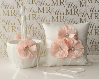 Ring bearer pillow and flower girl basket set