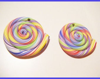 2 fimo polymer clay spiral beads