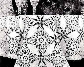 Tablecloth Vintage Crocheted Cathedral Window pattern   *PDF Instant Download*