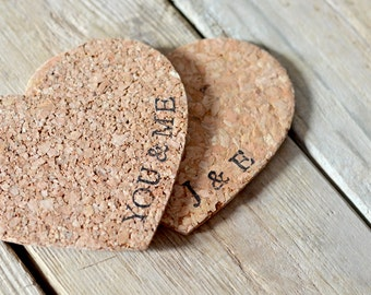 Personalized Heart Cork Coasters - set of 4 heart coasters with the name or word of your choice!