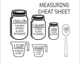 Measurement Cheat Sheet SVG - Measurement svg - INSTANT DOWNLOAD - 1-Dxf, Eps, Pdf, Png, Svg - Cricut - Silhouette