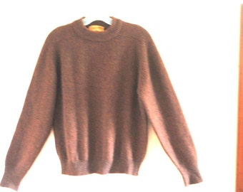 Fall fashion vintage 70s brown, tumblespun  wool , knit sweater with a rust shade. Made by Jantzen. Size M.