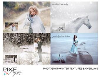 Winter Photoshop Overlays & Textures Pack, Digital Backdrop, Photoshop Overlays, Snow Overlays, Ice Textures, Fog Overlays