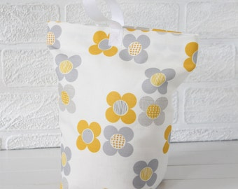 Yellow and Grey Fabric Doorstop Mod Flower Fabric Door Stop Doorstopper Floral Fabric Scandi Home