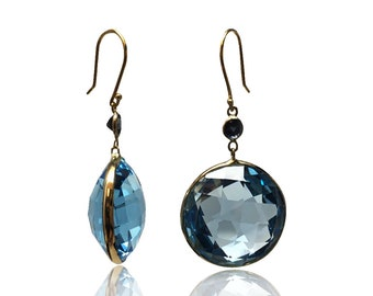 Natural 65 CTTW Blue Topaz Sapphire 14K Yellow Gold Dangle Earrings December Birthstone Gemstone Gold Drop Earring