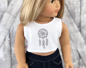 American Made Doll Clothes | Dreamcatcher CROP TANK TOP for 18 inch doll