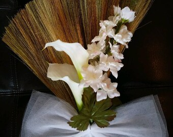 White Wedding Broom, Jumping Broom, African American wedding broom