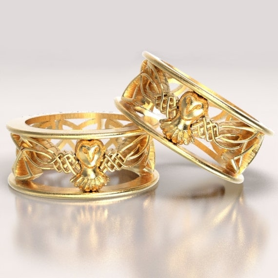 Celtic Gold Owl Wedding Ring Set With Cut-Through Woven Dara Knotwork Design in 10K 14K 18K or Palladium, Made in Your Size Cr-1016
