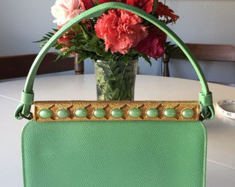 Vintage 1960s Green Purse with Coin Pouch.