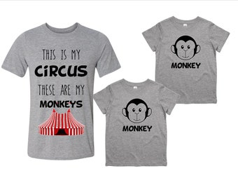 Circus and Monkey T-Shirt Set