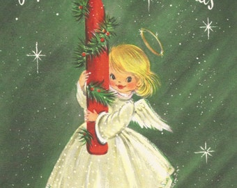 Vintage retro Merry Christmas greeting card angel candle digital download printable instant image
