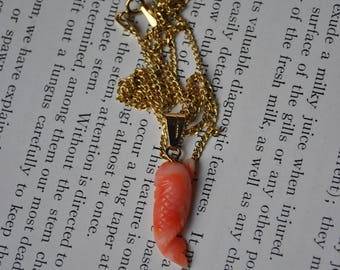Vintage 10k Pink Coral Pendant - 1960s Carved Coral Pendant, 10k Chain, Free Shipping