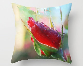 Rose bud pillow, rose photo pillow, dew drop flower, red & green rose, coral floral cushion, photographic cushion, cerise home decor pillow