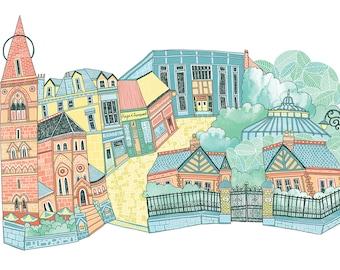 Glasgow Byres Road Illustration Print